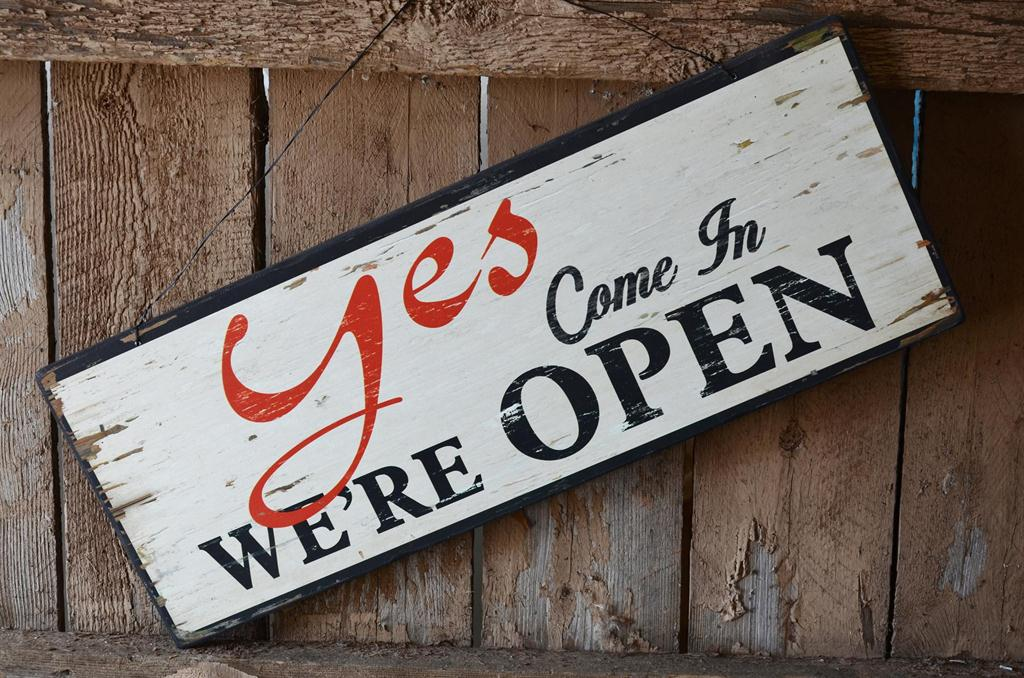 Yes We Re Open No Closed Wood Sign