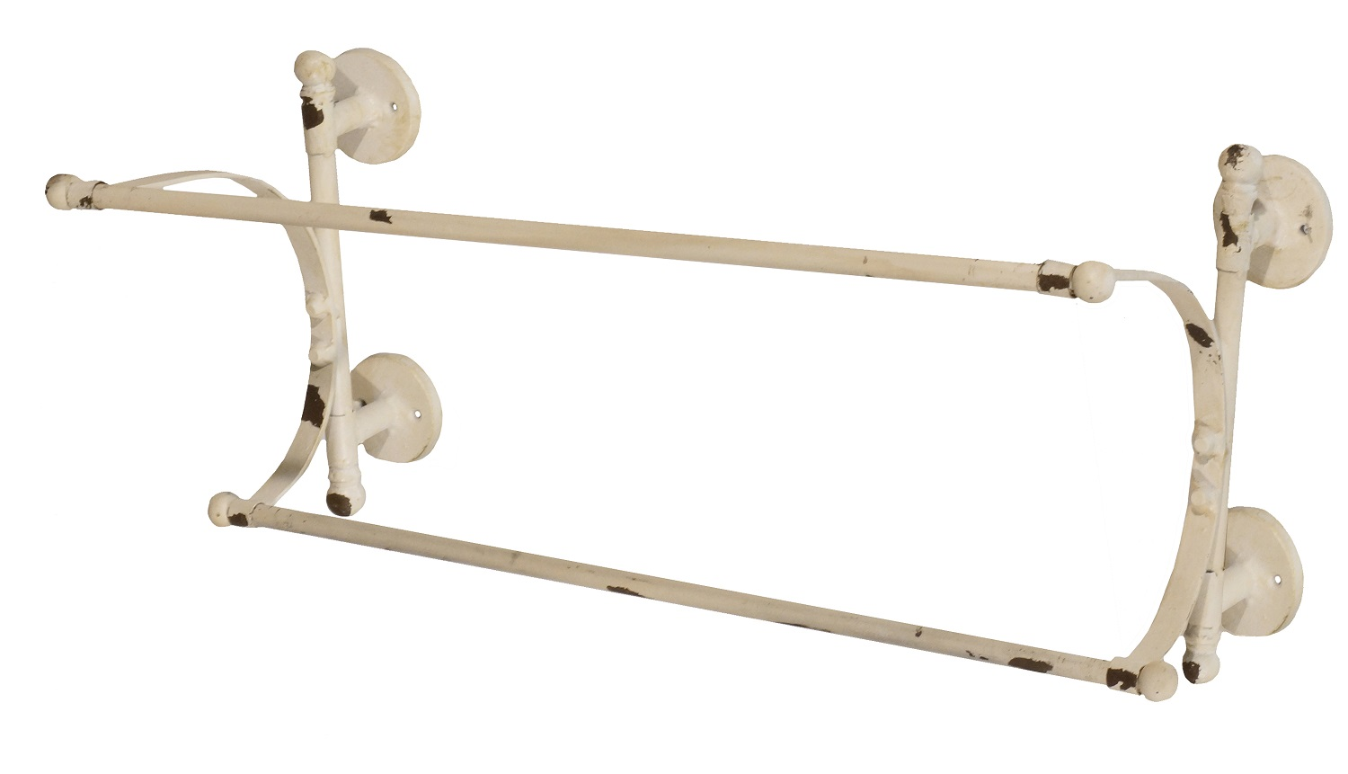This Rustic Antique Inspired Double Towel Bar Is Painted White And Distressed To Ear Aged Great In Your Shabby Chic Room